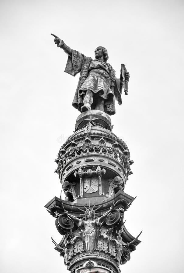 El monumento a Columbus en el la porta Paz Square de en Barcelona imagen de archivo libre de regalías