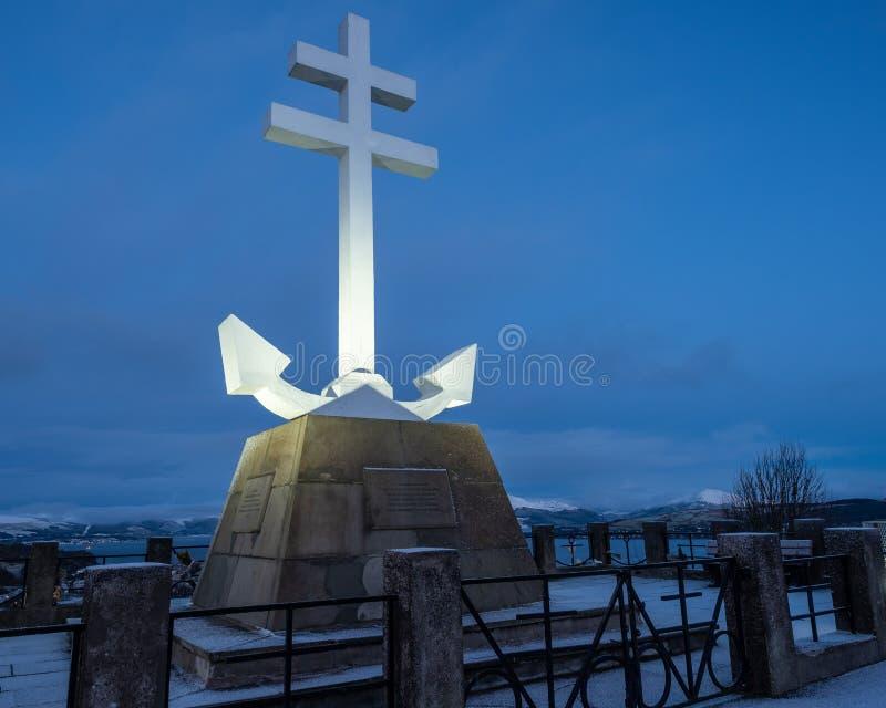 El monumento conmemorativo francés libre en el río Clyde fotos de archivo