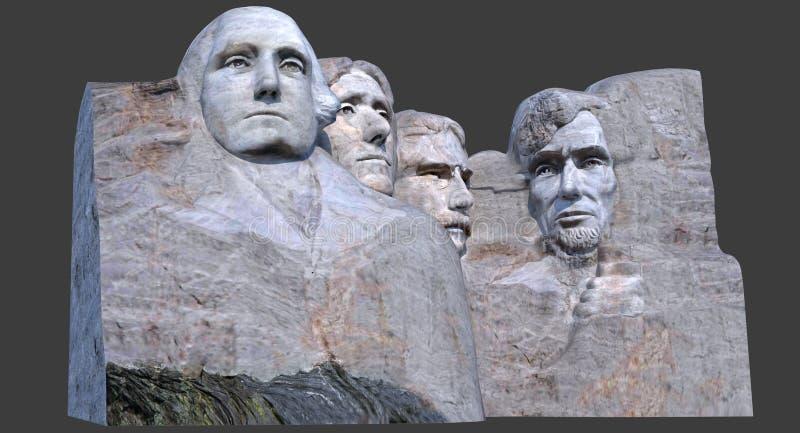 El monumento 3D del monte Rushmore rinde stock de ilustración