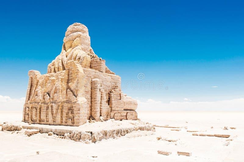 El monumento de Dakar Bolivia en Salar de Uyuni, Bolivia fotografía de archivo libre de regalías