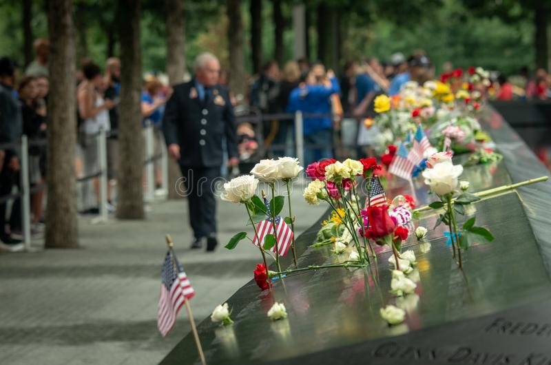 El monumento de 9/11 durante día del patriota foto de archivo
