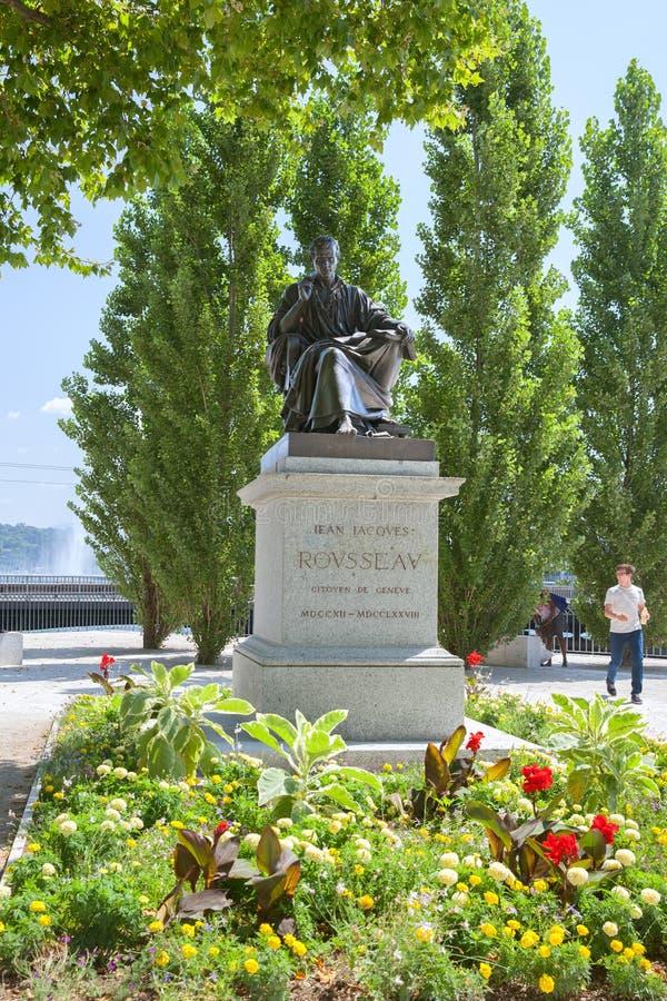 El monumento de Jean-Jacques Rousseau, Ginebra foto de archivo