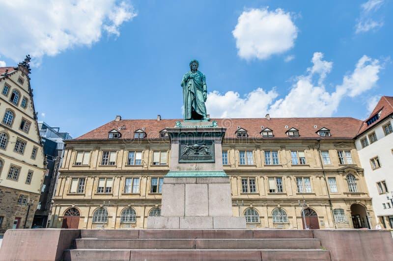 El monumento de Schiller en Stuttgart, Alemania fotografía de archivo