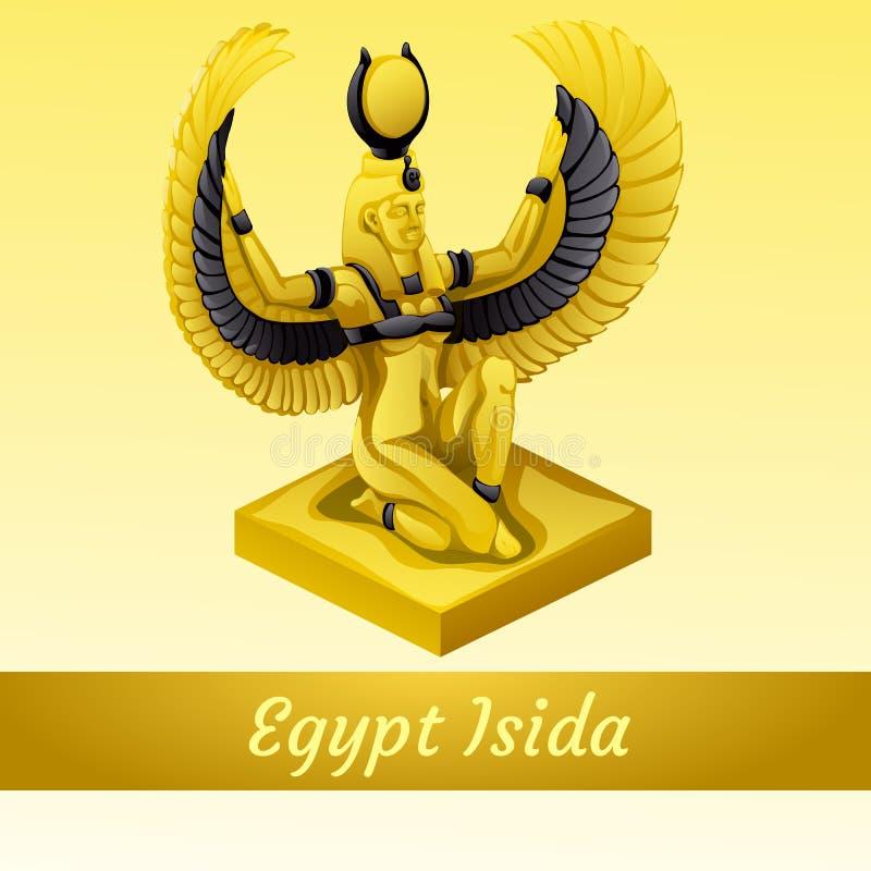 El monumento está de la reina egipcia Isida en oro stock de ilustración