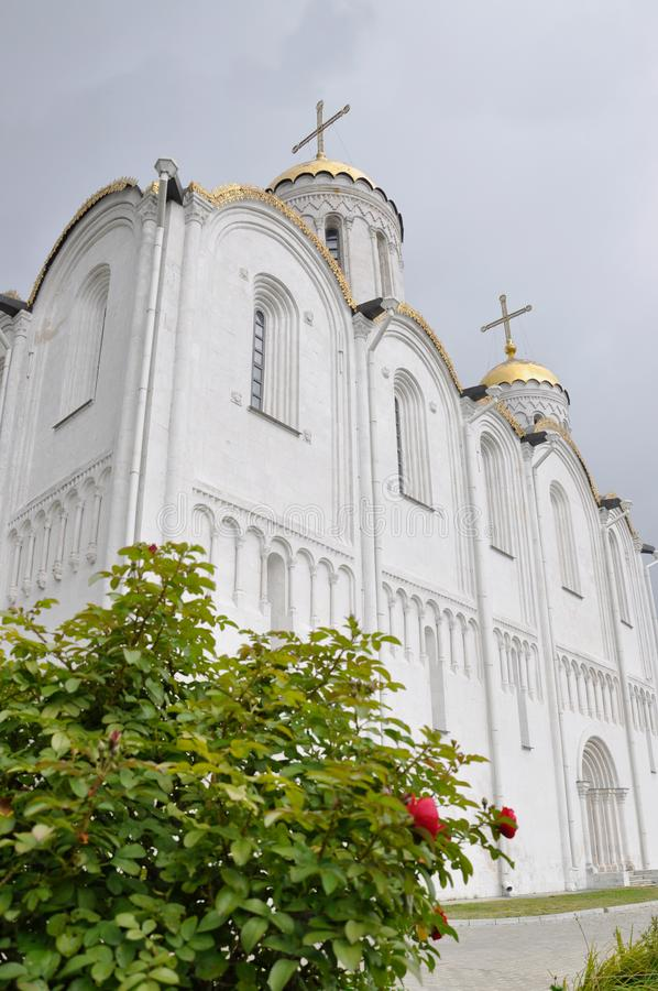 El monumento histórico de Vladimir Assumption Cathedral Uspensky Cathedral de la UNESCO como parte de Ring Russia de oro fotos de archivo libres de regalías