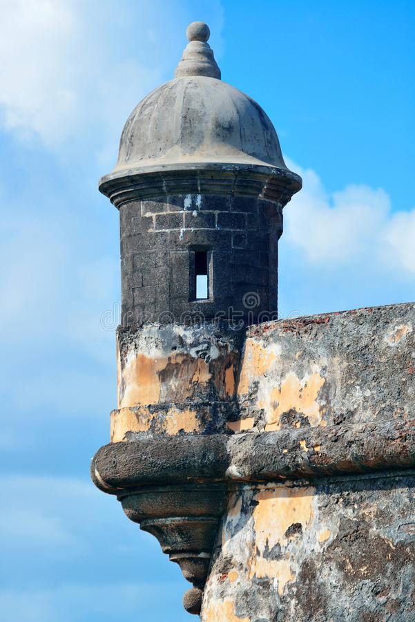 El Morro castle at old San Juan. Watch tower in El Morro castle at old San Juan, Puerto Rico royalty free stock photography