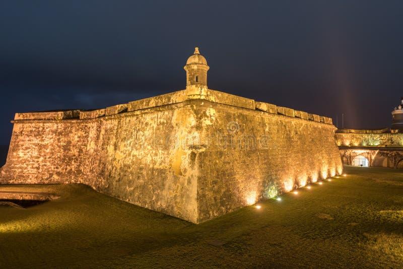 El Morro Castle, San Juan, Puerto Rico. Castillo San Felipe del Morro also known as Fort San Felipe del Morro or Morro Castle at dusk. It is a 16th-century royalty free stock images