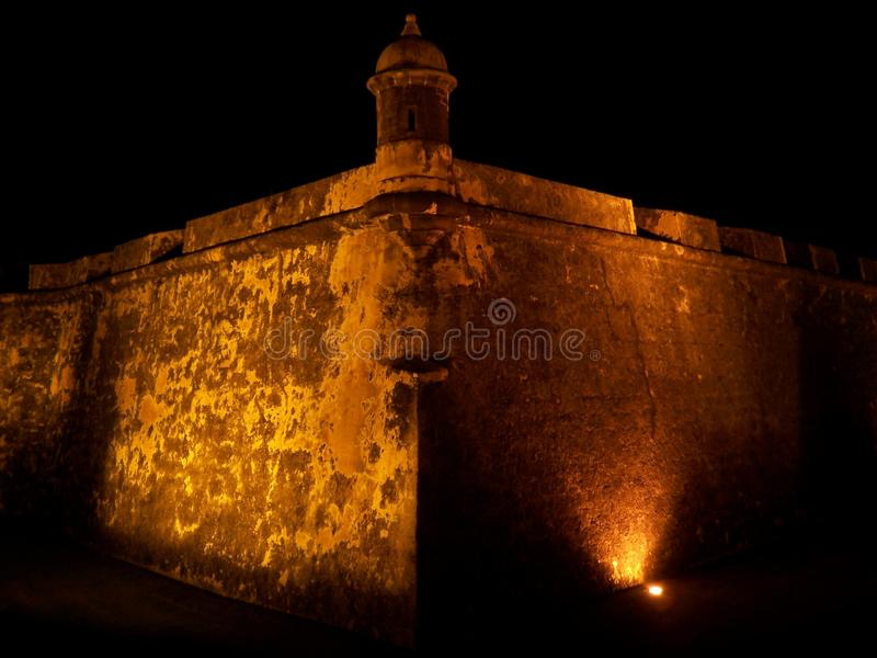 El Morro fort in San Juan Puerto Rico at night. Travel, tourism, puertorico, lit-up, illuminated, fortress, architecture, history, military, wall, tower royalty free stock images
