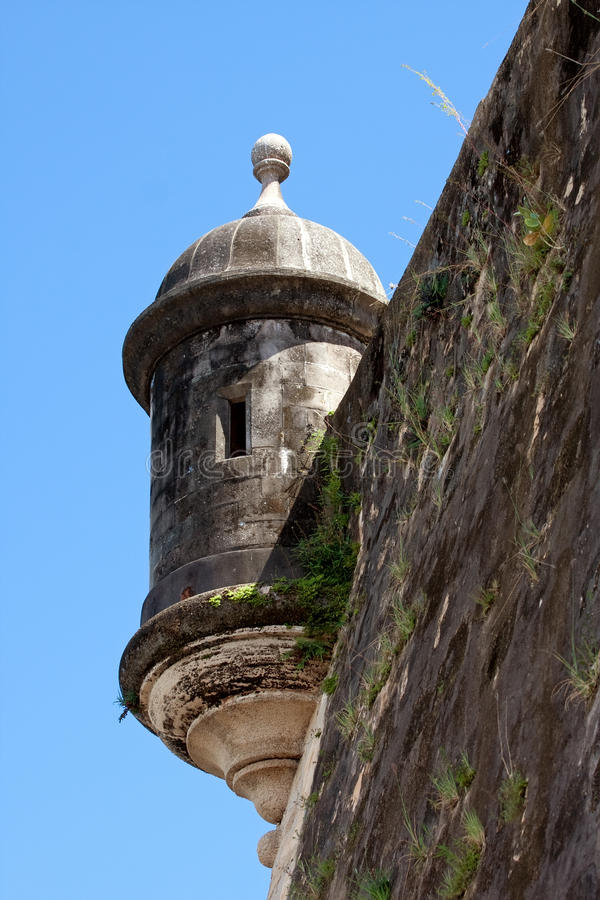 El Morro Fort Watch Tower. An El Morro fort watch tower located in Old San Juan Puerto Rico stock photos