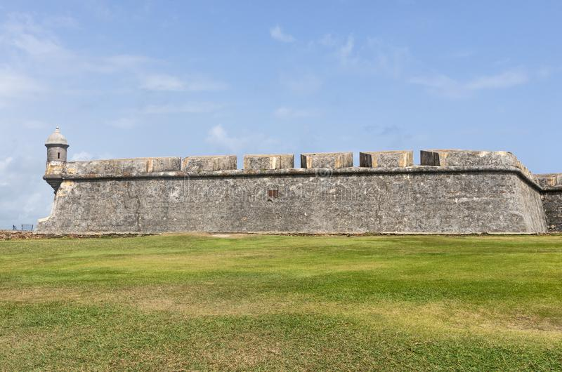 El Morro Fortress Wall and Sentry Box. Fortress wall and sentry box at el morro or castillo san felipe del morro in old san juan puerto rico stock image
