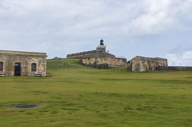 El Morro Grounds and Fortress. Grounds and fortress structures of historic el morro in old san juan puerto rico royalty free stock photography