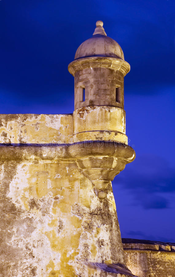 El Morro Old San Juan. On the tip of Old San Juan, Fort San Felipe del Morro. A 16th century citadel constructed to protect the town from attack by sea, El Morro royalty free stock photo
