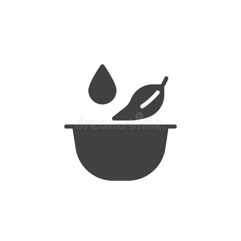 El mortero farmacéutico con las hojas y el descenso vector el icono libre illustration