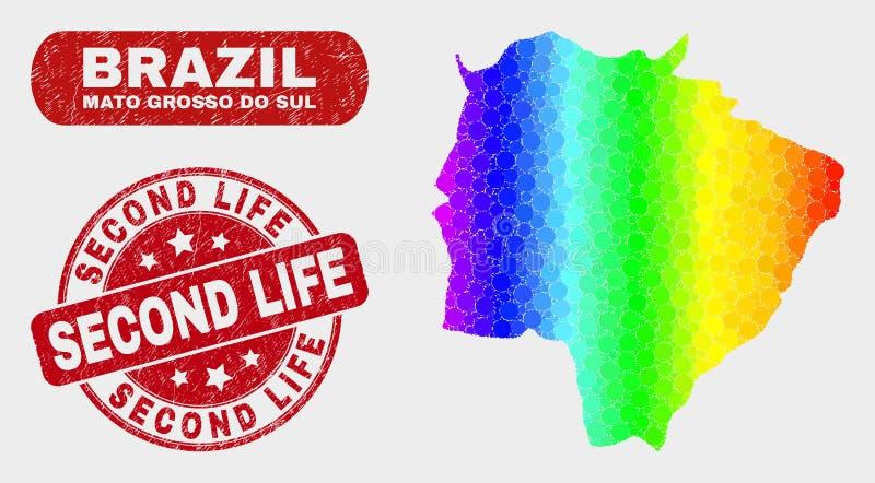 El mosaico coloreado Mato Grosso Do Sul State traza y apena la filigrana de Second Life stock de ilustración