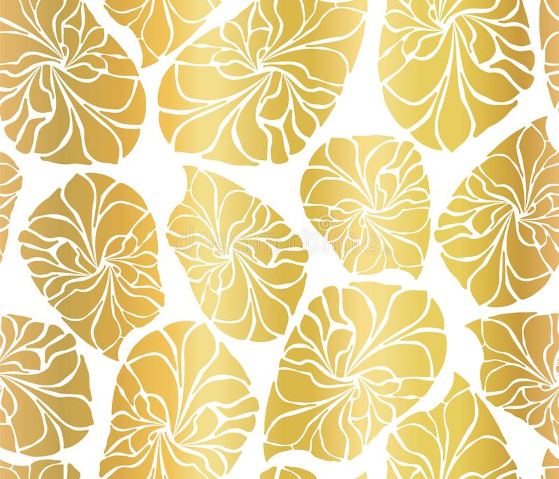 El mosaico de la hoja de oro sale del fondo inconsútil del vector Formas de hoja abstractas de oro en el fondo blanco Modelo eleg ilustración del vector