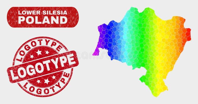 El mosaico del espectro baja el mapa de la provincia de Silesia y el sello del sello del logotipo del Grunge libre illustration