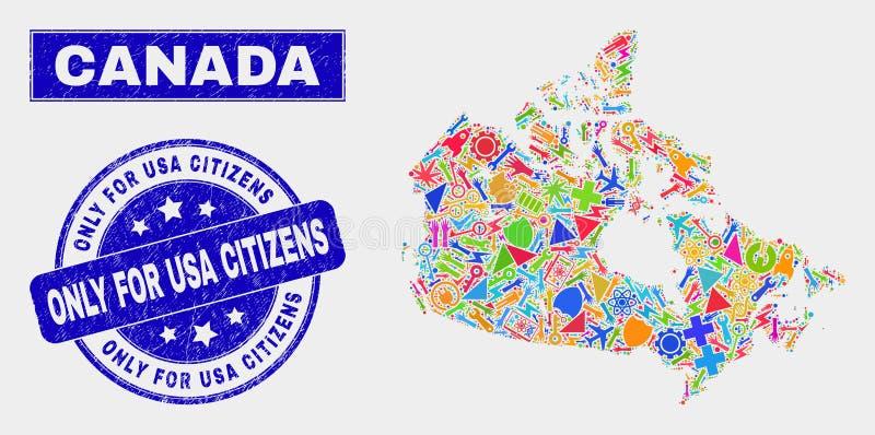 El mosaico equipa el mapa de Canadá y el Grunge solamente para los ciudadanos de los E.E.U.U. sella libre illustration
