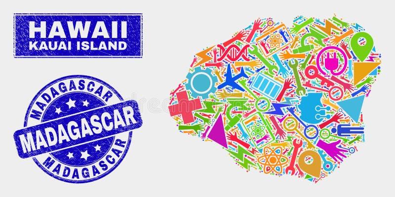 El mosaico equipa el mapa de la isla de Kauai y el sello rasguñado de Madagascar ilustración del vector