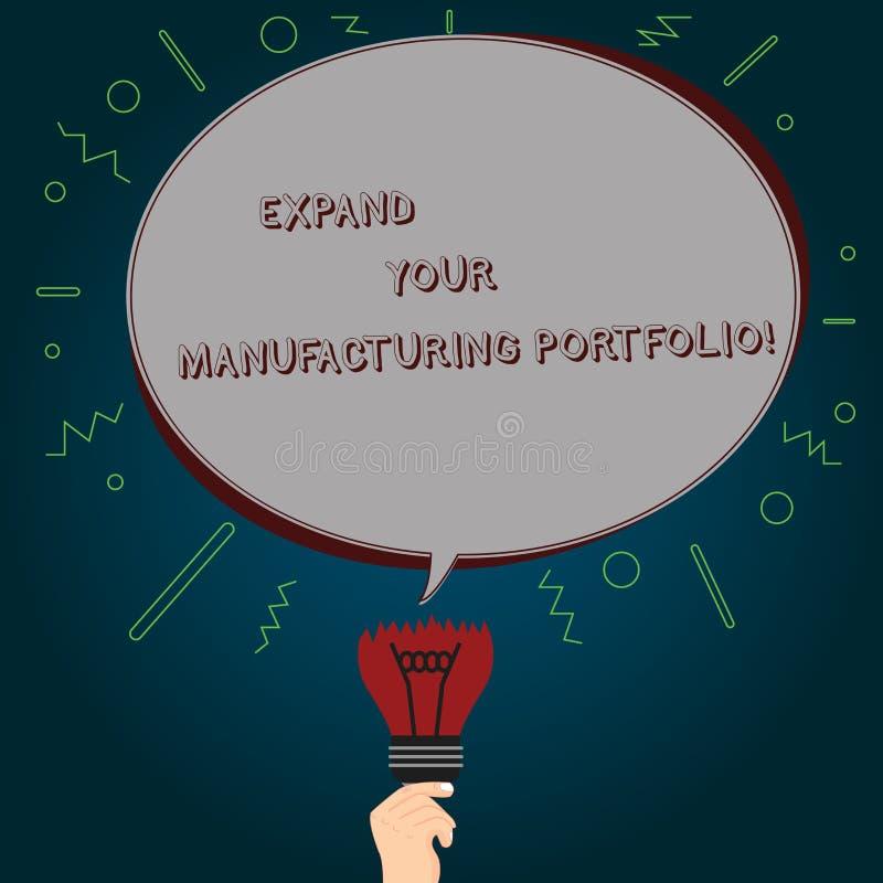 El mostrar conceptual de la escritura de la mano amplía su cartera de fabricación El texto de la foto del negocio hace un catálog libre illustration