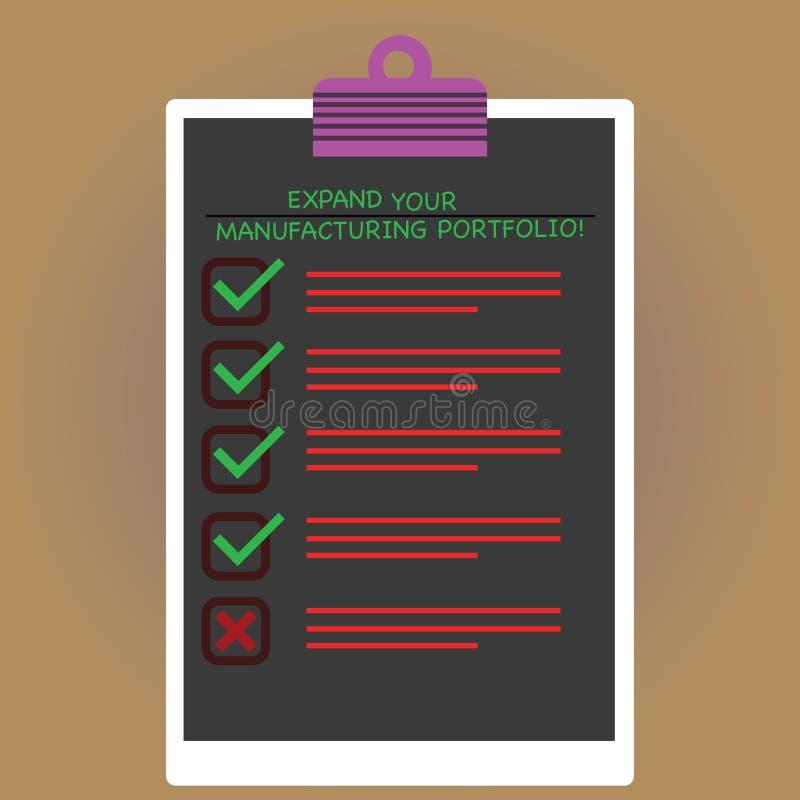 El mostrar conceptual de la escritura de la mano amplía su cartera de fabricación El texto de la foto del negocio hace un catálog ilustración del vector