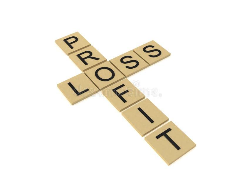 El mostrar cruzado de las palabras de ganancias y pérdidas libre illustration