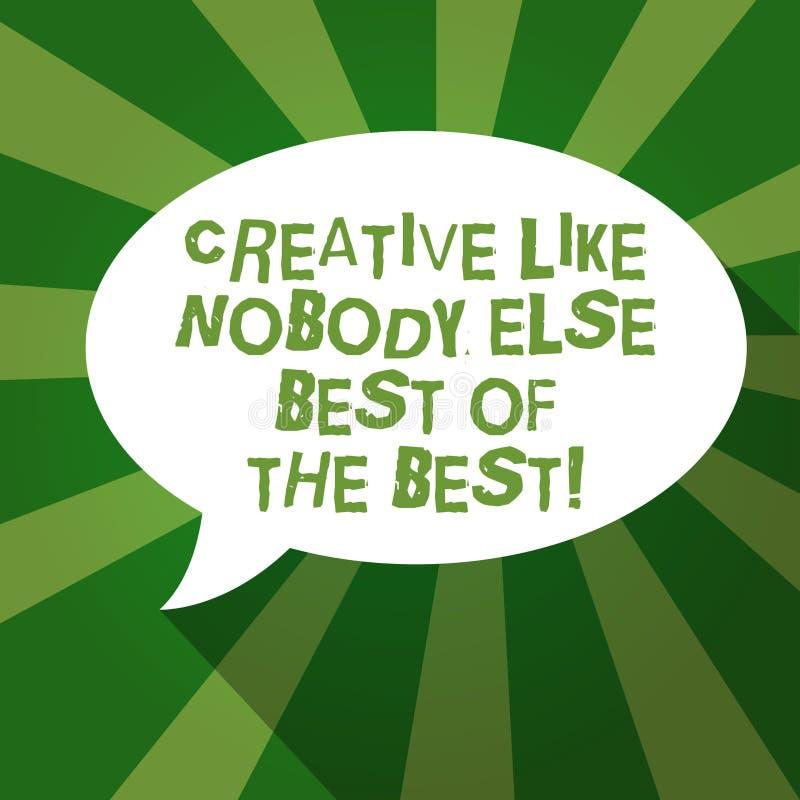 El mostrar de la muestra del texto creativo como nadie discurso oval de la forma de la foto de Else Best Of The Best del espacio  ilustración del vector