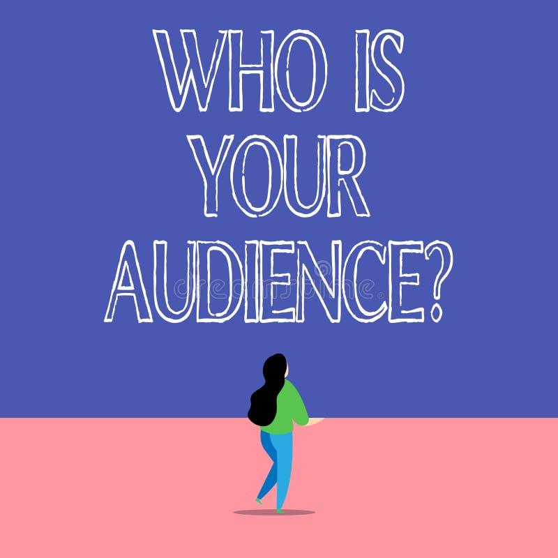 El mostrar de la muestra del texto qui?n es su pregunta de la audiencia Foto conceptual que es de observación o que escucha él stock de ilustración