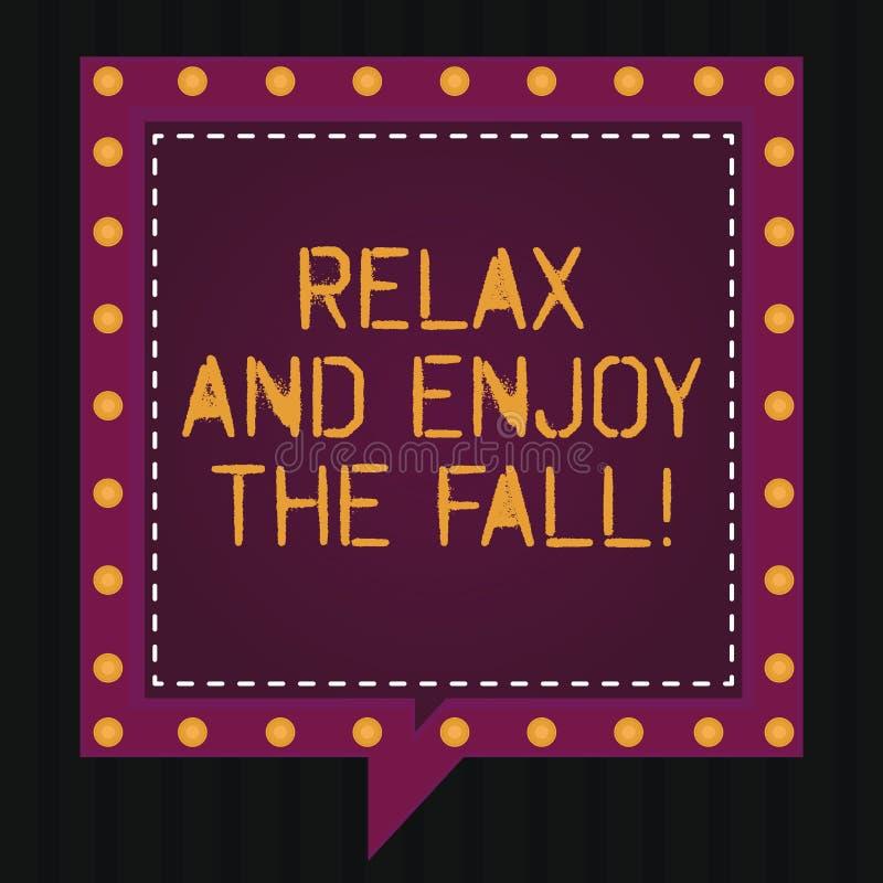 El mostrar de la muestra del texto relaja y disfruta de la caída La foto conceptual que goza de las hojas que caen hermosas de la stock de ilustración