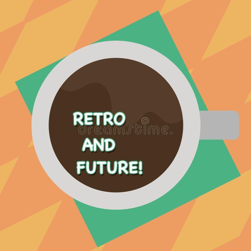 El mostrar de la muestra del texto retro y futuro Versión optimista de la foto conceptual del futuro que ofrece la opinión superi stock de ilustración