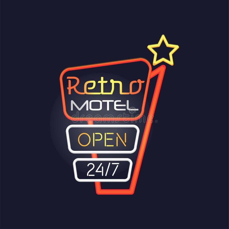 El motel retro abre 24 7 señales de neón, letrero que brilla intensamente brillante del vintage, ejemplo ligero del vector de la  ilustración del vector