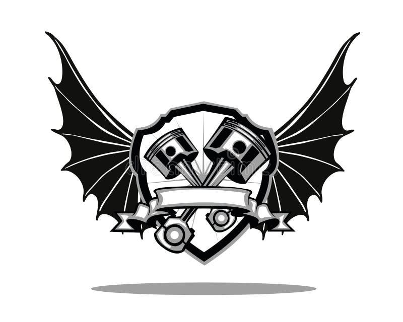 El motor se va volando el escudo libre illustration