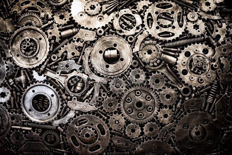 el motor y el coche del motor utilizaron el fondo de los recambios foto de archivo