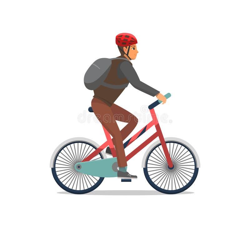 El motorista de la bici del montar a caballo del hombre de la bicicleta aisló vector stock de ilustración