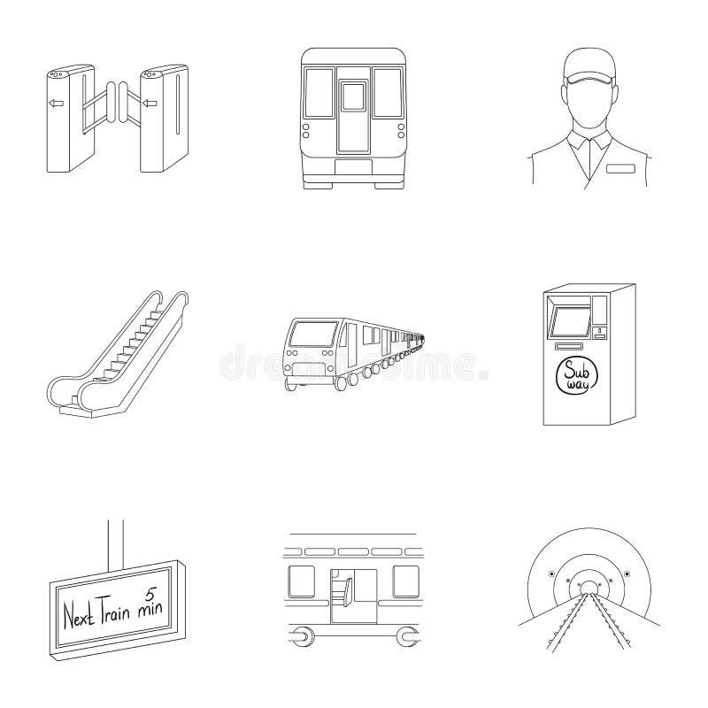 El movimiento, el transporte eléctrico y el otro icono del web en estilo del esquema El público, transporte, significa iconos en  libre illustration