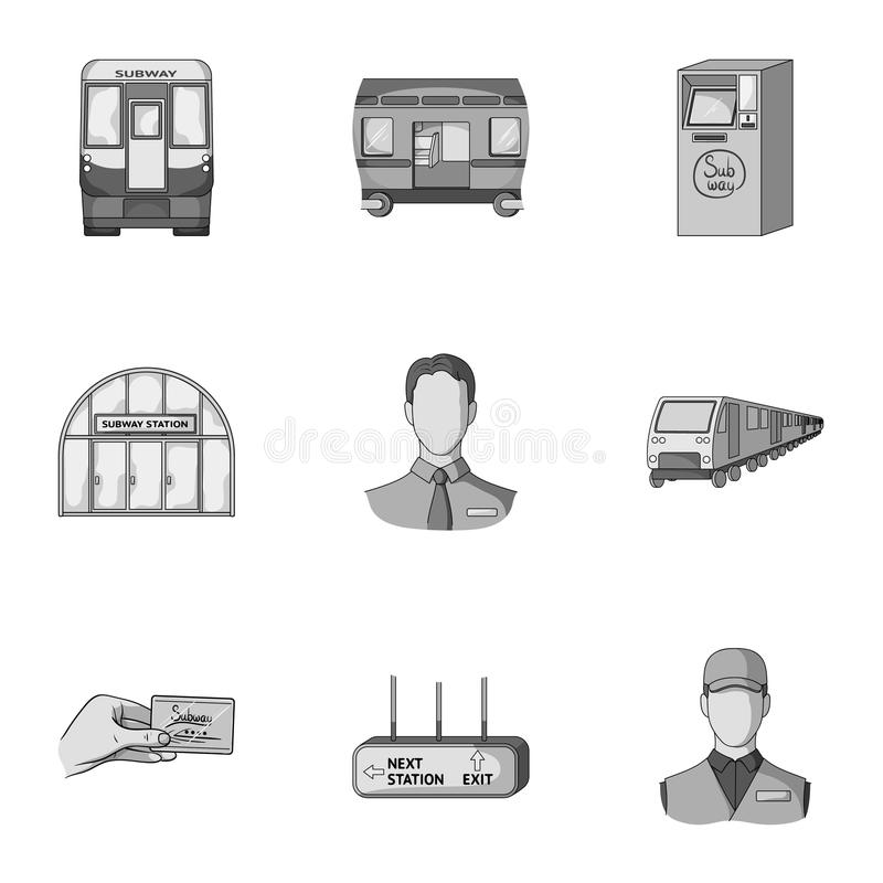 El movimiento, el transporte eléctrico y el otro icono del web en estilo monocromático El público, transporte, significa iconos e stock de ilustración
