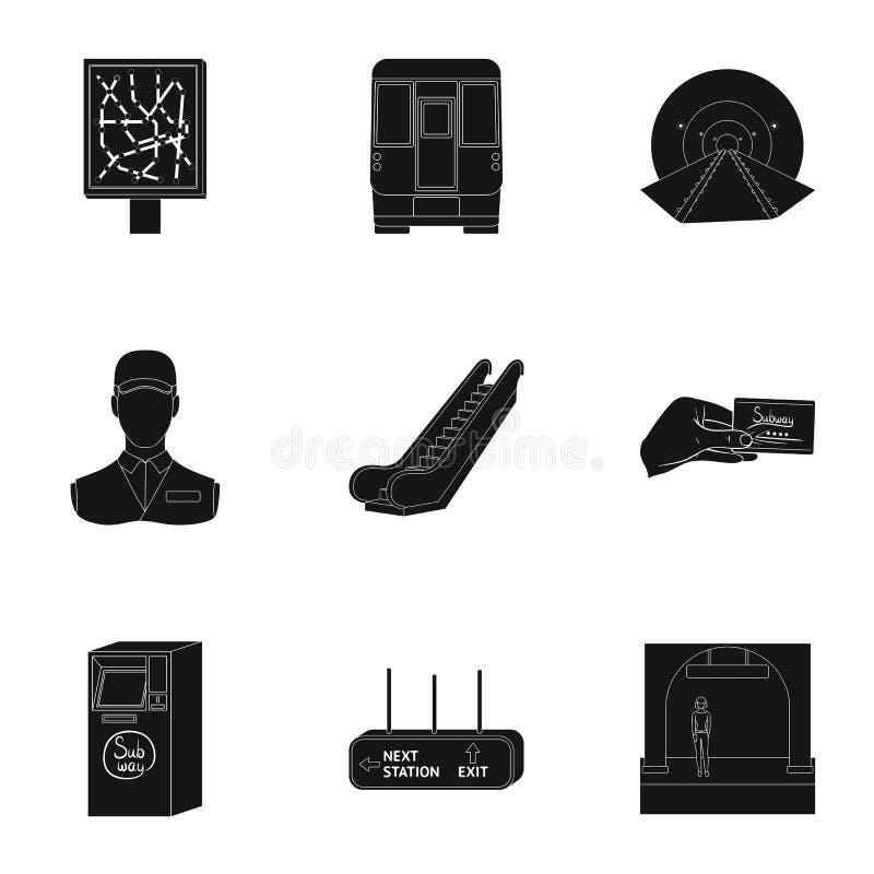 El movimiento, el transporte eléctrico y el otro icono del web en estilo negro El público, transporte, significa iconos en la col stock de ilustración