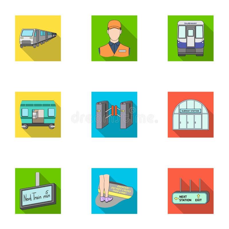 El movimiento, el transporte eléctrico y el otro icono del web en estilo plano El público, transporte, significa iconos en la col libre illustration