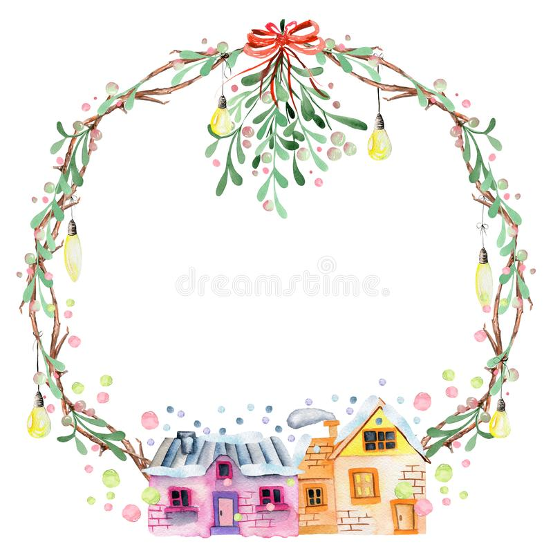 El muérdago de la acuarela, las bombillas y la Navidad acogedora del invierno de las casas enrruellan stock de ilustración