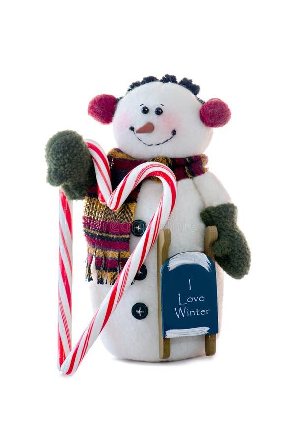 El muñeco de nieve ama invierno fotografía de archivo libre de regalías