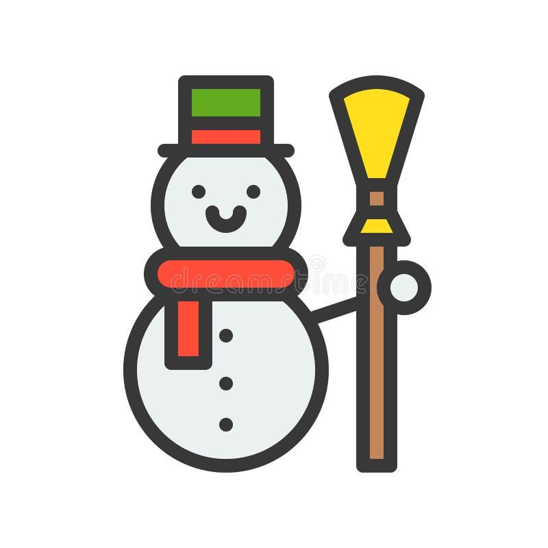 El muñeco de nieve con la escoba, sistema del tema de la Feliz Navidad, llenó ed del esquema libre illustration