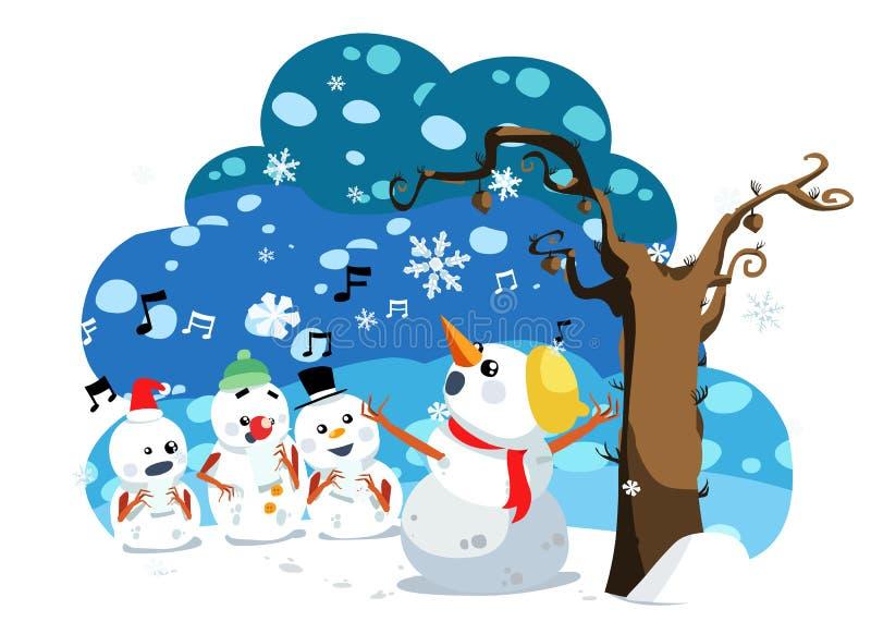 El muñeco de nieve de la Navidad canta una canción ilustración del vector