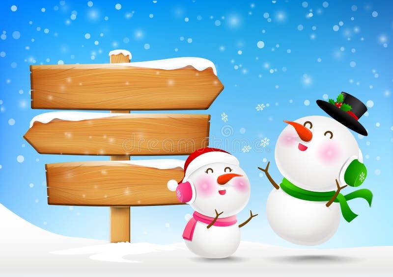 El muñeco de nieve de la Navidad y el snowgirl y la muestra de madera esconden al tablero ilustración del vector