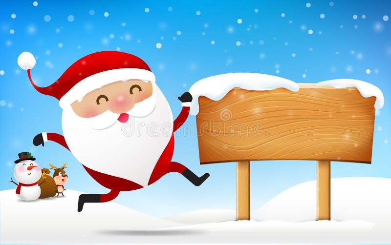 El muñeco de nieve de Papá Noel de la Navidad y la historieta del reno sonríen en fron libre illustration