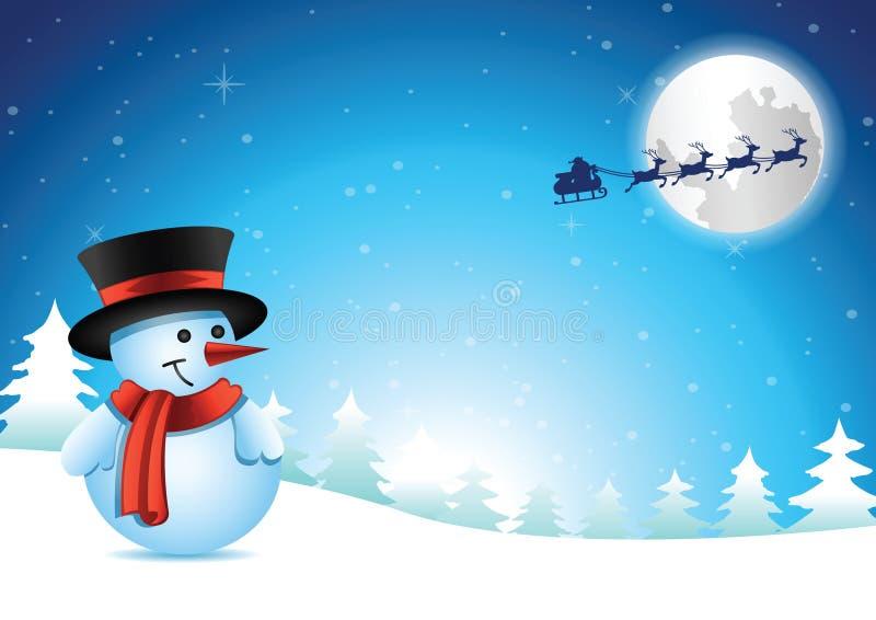 El muñeco de nieve dice que adiós a Papá Noel después de reciba el regalo con happi stock de ilustración