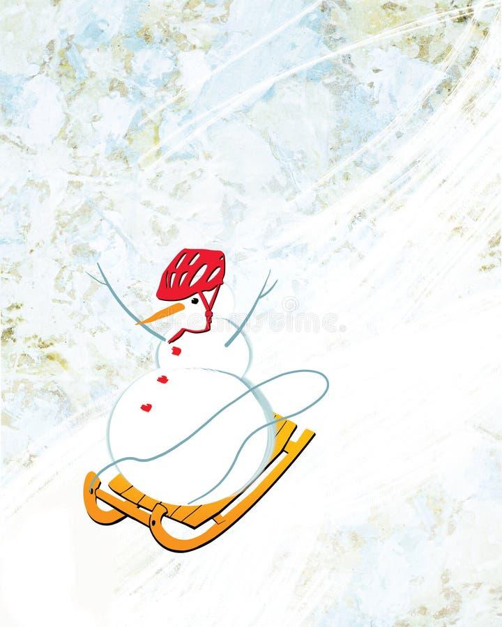 El muñeco de nieve en un casco rojo se quita de la montaña en un trineo ilustración del vector