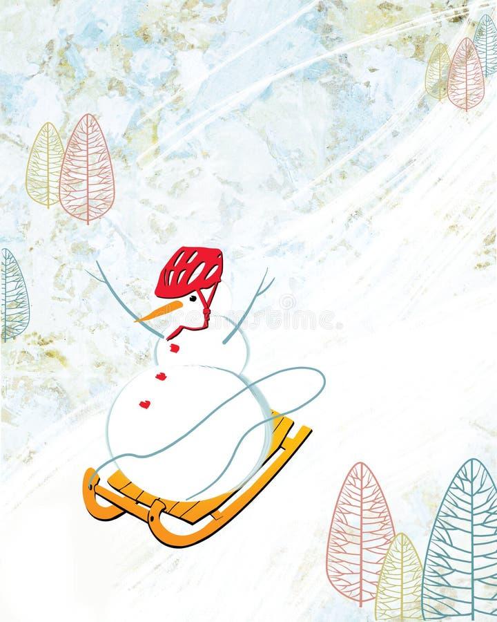 El muñeco de nieve en un casco rojo se quita de la montaña en un trineo libre illustration