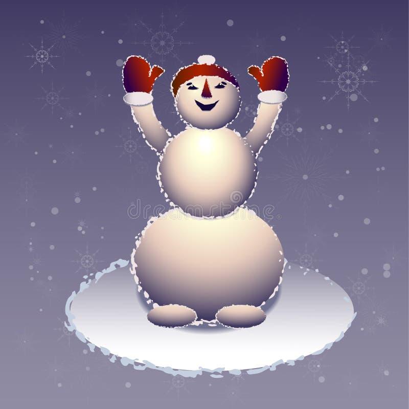 El muñeco de nieve en una boina roja ha aumentado las manos para arriba libre illustration