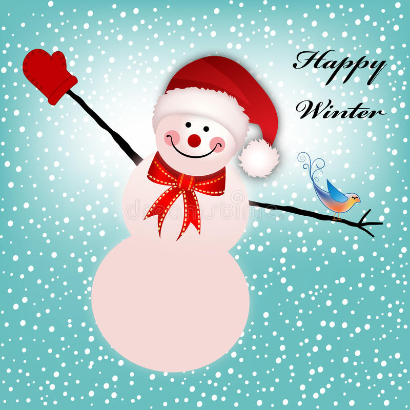 El muñeco de nieve feliz arma Outstreached stock de ilustración