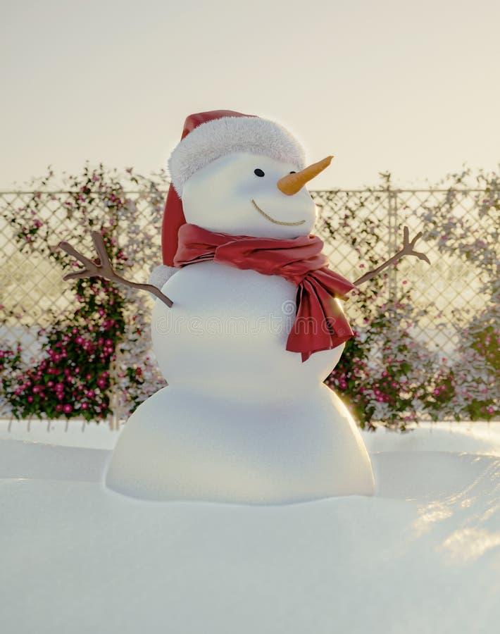 El muñeco de nieve feliz y alegre saluda vacaciones de invierno fotografía de archivo