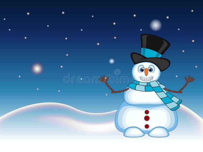 El muñeco de nieve que lleva un sombrero y una bufanda azul que agitan su mano con el fondo de la estrella, del cielo y de la col libre illustration
